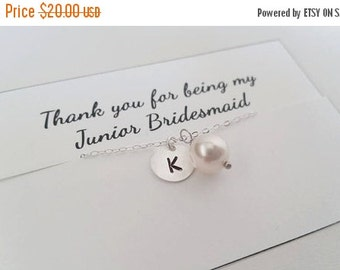 TODAY SALE REDUCED - Custom Initial and Swarovski Pearl Necklace -  Flower Girl Gift, Junior Bridesmaid Gift, Wedding Jewelry, Bridal Party