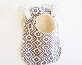 Unisex Baby Bib Adjustable Aztec Fiesta Baby Bib with Minky Eduardo Coin