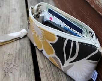 Zipper Pouch Clutch Wallet - Long Wallet - Cell Phone - Errand Runner - Evening Bag - Fabric Wallet - Wristlet - Earthy Neutral Tones