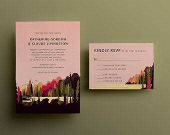 Dawn National Park Forest Wedding Invitation - Custom DIY Printable