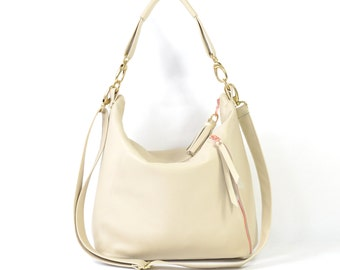 Amelia - Handmade Cream Leather Hobo Shoulder Bag SS16