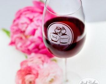 CUSTOM WINE glass//Bridesmaid/Maid/Matron of Honor/Bridesman//ETCHED wine glass