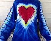 Valentine's Day tie dye heart long sleeve tshirt Xl