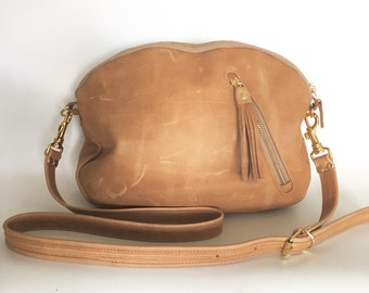 AW13 Leather bag in natural - converts to clutch