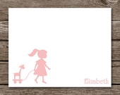 Silhouette Girl Note Cards - Notecards - Kids - Children - Toy - Giraffe - Custom - Stationery - Stationary - Personalized - Set of 8