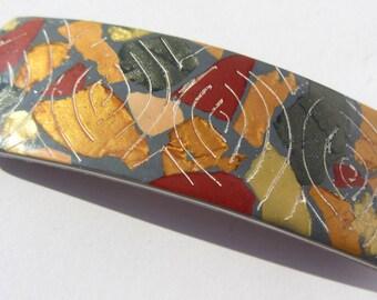 French Barrette, Gold Copper Barrette, Copper Barrette, Gold Barrette, French Hair Clip, Polymer Clay Barrette, Artisan Barrette