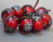 Red & Blue Boro Beads