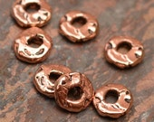 Six Spacer Rondelles with 2mm Hole, Copper Bronze Spacer Beads, 290cb