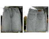 Vintage 80's Forenza Grey Acid Wash Denim Jean Mini Skirt