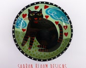 Ceramic Black Cat Hearts  Ceramic Mini Bowl Hand Painted by Sharon Bloom Designs