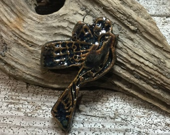 BIRD IN FLIGHT - Lovely Blues and Coppery Brown Glaze Bird Pendant - Handmade Ceramic Pendant