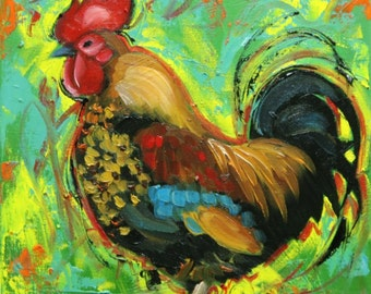Rooster 838 12x12 inch animal portrait original oil painting by Roz