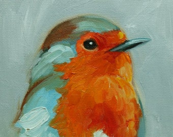 Bird painting 257 Robin 6x6 inch portrait original oil painting by Roz