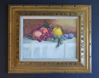 "Original Still Life Oil on Canvas- ""Fruits on a Table"" by Csongor Hand Painted Impressionist Fine Art French Country Decor Rustic Gold Frame"