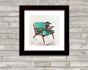 "Raccoon, animal, Mid Century Mod Modern Z chair, ART PRINT of original Oil Painting ""Z!"" by artist Kimberly Applegate"