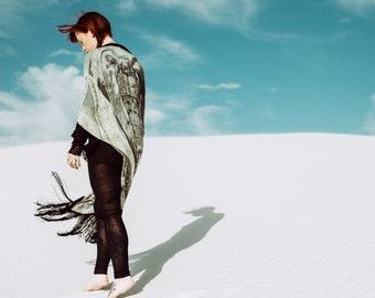 Kimono Robe, Fringe Kimono, Silk Kimono, Fringe Jacket, Piano Shawl, Skeleton Kimono, Silk Robe, Bridal Robe, Wedding Robe, Norwegian Wood