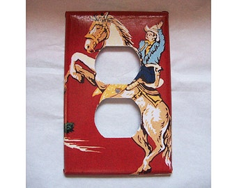 retro cowboy outlet switch plate cover vintage 1950's rockabilly kitsch light switch