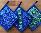 Set of 3 Different Blueberry Potholders, Blueberry Kitchen Theme, Blueberry Kitchen Decor, Blueberry Kitchen Accessories