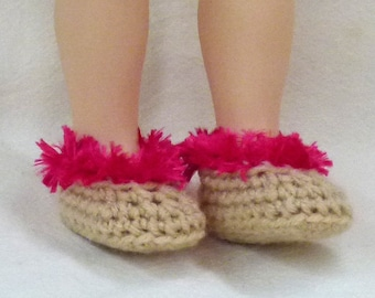 """18"""" doll slippers - biege and hot raspberry pink"""
