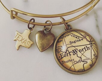 Fort Worth Map Charm Bangle Bracelet - Personalized Map Jewelry - Stacked Bangle - Lone Star State - Ft Worth - Texas Pride - Wanderlust