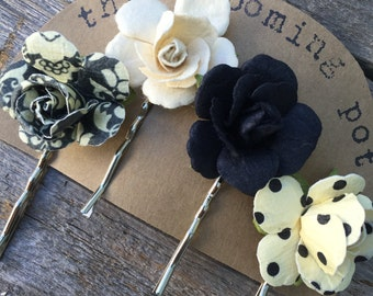 Black and Ivory Flower Bobby Pins