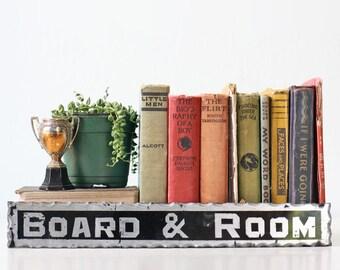 Vintage Glass Sign - Board & Room, Reverse Paint, Foil Sign