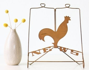 Vintage Rooster Newspaper Easel, Metal News Stand