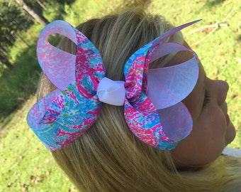 Lilly Pulitzer Inspired Hair Bow -similar to Let's Cha Cha Pattern Several Sizes Available