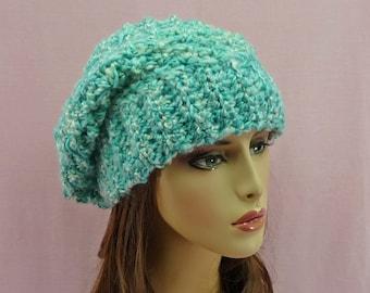 SLOUCHY BEANIE HAT Womens Ladies Adult Small - Medium Thick Warm Soft Turquoise White Aqua Homespun Seafoam