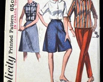 Vintage 60s Simplicity 6044 Woman's  Blouse Skirt Slacks Culottes Bust 36 Complete