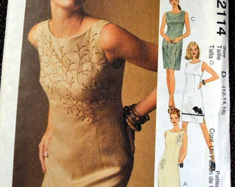 Sewing Pattern Butterick 2114 Misses' Dress  Size 12-14-16 Bust 34-36-38 inches UNCUT Complete