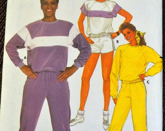 Vintage Sewing Pattern Butterick 6655 Misses' Top, Pants, & Shorts Bust 30 inches  Uncut Complete