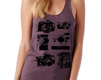 CAMERAS camera photography Ladies Heathered Tank Top Shirt screenprint Alternative Apparel
