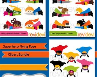 Superhero clipart bundle sale / Flying superhero clip art - superheroes graphics, boys girls fly - commercial use digital images
