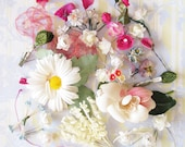 All Her Spring Blooms...Lot of Vintage Millinery Flower Trims