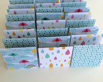 Mini Cards 24 Raindrop umbrella - blank for thank you notes 3 x 3