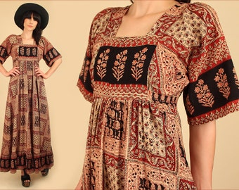 ViNtAgE 70's INDIAN Block Print Cotton Maxi Dress // ANGEL Wing Babydoll Empire FULL Sweep // Hippie Festival Dress // S / M Small Medium