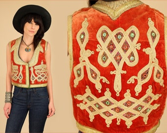 VtG 60's VELVET Embroidered GYPSY Rocker VEST Morrison Jacket Tribal India Afghan L