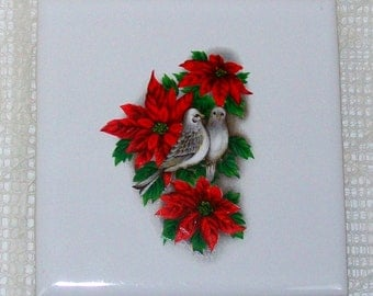 Ceramic Trivet with Poinsettias