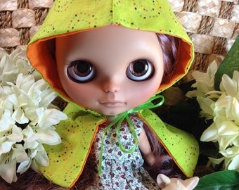 Blythe Doll Spring Cape Clothes Green Hooded Cape Blythe Doll Clothes Fresh Colorful Multicolor Dots Fun