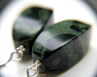 Large Gemstone Earrings . Geometric Earrings . Kambaba Jasper Earrings . Astronomy Jewelry Gemstone Big - Gaea Collection