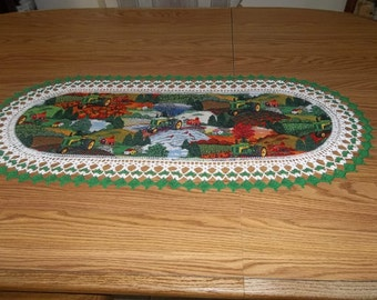 Crochet Table Runner, John Deere, Handmade, Oval, Table Decor, Lace, Table Cloth, Table Topper, Centerpiece, Dresser Scarf, Best Doilies