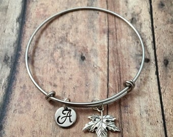 Maple leaf initial bangle - maple leaf jewelry, Canadian jewelry,  leaf bracelet, Canada bangle, maple leaf bracelet, forest jewlery