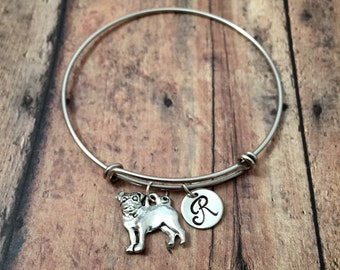 Pug initial bangle - dog breed jewelry, pug dog jewelry, gift for pug owner, pug pendant, small dog jewelry, silver pug bracelet