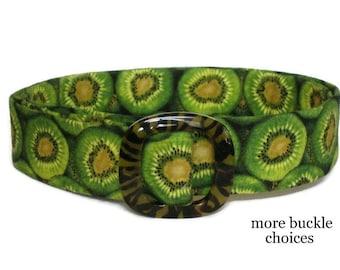 Green Fabric Belt / SALE / Womens D-Ring Belt / Green Ribbon Belt / Ladies Cloth Belt - Kiwi in green