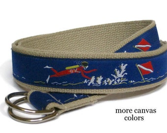 Scuba Belt Men's Canvas Belt / D-ring Webbing Belt / Ribbon Belt for men, teens big & tall men - Scuba Diver on Royal Blue Belt