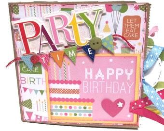 Party Time - Happy Birthday Scrapbook - Paper Bag Photo Album