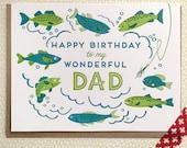 Happy Birthday to My Wonderdul Dad Letterpress Card