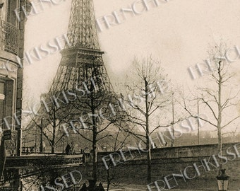 Eiffel Tower, Seine, France 1911 Rare Antique Paris Postcard Digital Download Personal Use