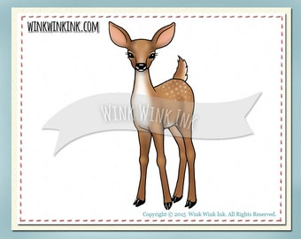 Digital stamp - Deer Friend - Sweet baby fawn  printable digi image
